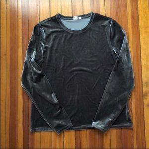 Gap Gray Velvet Long Sleeve Sz XL Tall